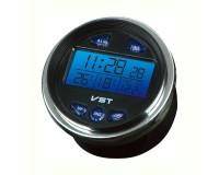 Часы автомобильные VST 7042V установка в штатное место панели приборов, дата, время, будильник, вольтметр, темпратура внутренняя и наружная
