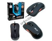 Мышь игровая A4Tech X-705K USB Optical (800/1000/1200/1600/2000 dpi) черная, 5 кнопок+колесо-кнопка, память для сохранения настроек при программировании кнопок мыши- 16К, уникальная кнопка «Тройной клик», коробка