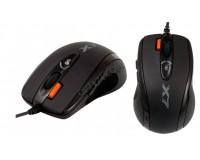 Мышь игровая A4Tech X-710MK USB Optical (400/800/1200/1600/2000 dpi) черная, 6 кнопок+колесо-кнопка, память для сохранения настроек при программировании кнопок мыши- 16К, уникальная кнопка «Тройной клик», коробка