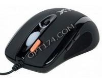 Мышь игровая A4Tech X-718BK USB Optical (3200dpi) черная, 6 кнопок+кнопка-колесо, память 16К, коробка