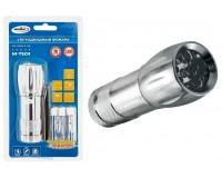 Фонарь Космос M2508-B-LED 9 светодиодов, 3xR3, металлический, батарейки в комплекте