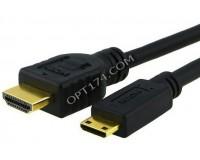 Кабель HDMI-miniHDMI SmartBuy длина 2м. Gold ver.1.4b, в пакете черный (К320)
