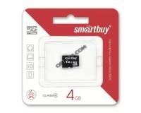 Флэш карта microSDHC 4 GB SmartBuy Class 4 без адаптера