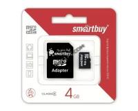 Флэш карта microSDHC 4 GB SmartBuy Class 4 с адаптером