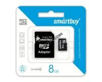 Флэш карта microSDHC 8 GB SmartBuy Class 4 с адаптером
