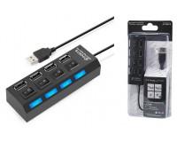 Концентратор USB (HUB) Орбита OT-PCR08 (HB-103) 4 порта USB 2.0, выключатель на каждый порт, кабель 1 м.
