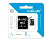 Флэш карта microSDHC 8 GB SmartBuy Class 10 с адаптером