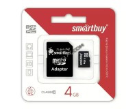 Флэш карта microSDHC 4 GB SmartBuy Class 10 с адаптером