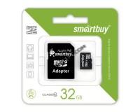 Флэш карта microSDHC 32 GB SmartBuy Class 10 с адаптером