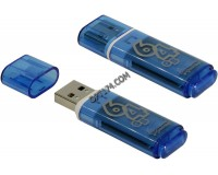 Флэш диск 64 GB USB 2.0 SmartBuy Glossy Blue с колпачком