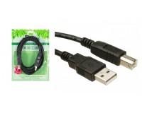 Кабель USB A штекер - USB B штекер Perfeo длина 1, 8м, пакет, черный (U4102)