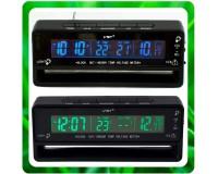 Часы автомобильные VST 7010V дата, время, будильник, вольтметр, темпратура внутренняя и наружная, подсветка - красная или синия
