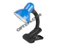 Лампа настольная Эра N-102-E27-40W-BU синий, прищепка, коробка