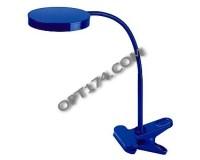 Лампа настольная Эра NLED-435-4W-BU синий , светодиодный, 6 LED, 3000K, прищепка, коробка