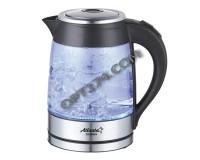 Чайник Atlanta ATH-2462 2000Вт. 1, 8л. стекло, дисковый, подсветка Black