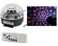 Световая установка Огонек MP-381 диско шар встроенные динамики 2*5W (USB, SD) пульт ДУ, датчик звука