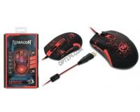 Мышь игровая Redragon Lavawolf USB Optical Avago ADNS-3050/N-701 (100 - 3500 dpi с шагом 100dpi) черная, 6 кнопок+колесо-кнопка с покрытием Sand Rubber Skin, программируемые кнопки, эмуляция клавиш клавиатуры, коробка