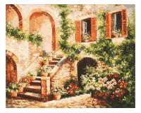 Набор для живописи на холсте 40х50 Белоснежка 133-AB Цветущий дворик РАСПРОДАЖА!!!