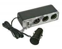 Переходник для прикуривателя TDS TS-CAU23 (WF-0096) на 3 гнезда 12В + USB со шнуром