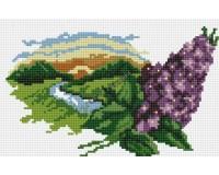 Мозаичная картина на подрамнике Белоснежка 101-ST-R Ветка сирени 20х30 см РАСПРОДАЖА!!!