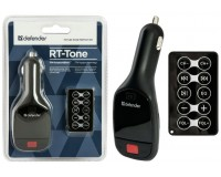 FM трансмиттер Defender RT-Tone 12В, USB/SD/microSD, автомобильный, пульт, блистер (68007), черный