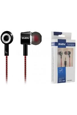 Наушники Sven SEB 108 внутриканальные, кабель 1, 2м тканевый, коробка, черно-красные