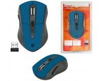 Мышь беспроводная Defender MM-965 Accura USB Optical (800/1600dpi) синяя, 5 кнопок+кнопка-колесо блистер (52967)