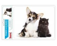 Коврик для мыши Buro BU-M40095 Котенок и щенок 230х180х2мм, PVC, резина, нескользящее основание