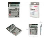 Калькулятор STAFF STF-1212-12 настольный, 12 разрядный, металлический, двойное питание, размер 14х10, 5 см, серебристый (250118)