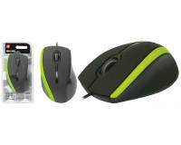 Мышь Defender MM-340 USB Optical (1000 dpi) черно-зеленая, 2 кнопки+кнопка-колесо блистер (52346)