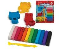Пластилин BRAUBERG 224462 количество цветов в наборе: 12 цветов масса: 150 г стек, 3 штампика для лепки, блистер