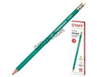Карандаш чернографитный STAFF 180963 диаметр грифеля -2 мм, твердость-HB эконом, зеленый шестигранный пластиковый корпус, с резинкой, заточенный
