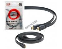 Кабель HDMI-HDMI Cablexpert 1м GOLD ver.2.0, плоский, экранирование, пакет, черный (CC-HDMI4F-1M)