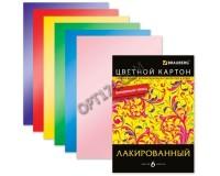 Картон цветной BRAUBERG 124774 количество цветов в наборе: 6, количество листов: 6, размер А4 200*290мм лакированный с волшебным глянцем