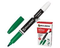 Маркер для доски BRAUBERG 150849 круглый наконечник 4 мм., эргономичный корпус с клипом, цвет чернил: зеленый