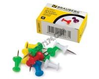 Кнопки гвоздики силовые BRAUBERG 220557 набор из 50шт., размер 10мм., в картонной коробке, цветные