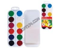 Краски акварельные BRAUBERG 190551 количество цветов: 12, медовые, пластиковая коробка, без кисти