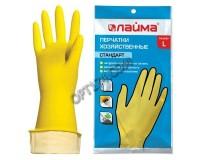 Перчатки хозяйственные резиновые Лайма Стандарт с х/б напылением, размер L ( большой)(600270)