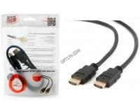 Кабель HDMI-HDMI Cablexpert 0, 5м GOLD ver.2.0, пакет, черный (CC-HDMI4-0.5M)