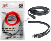 Кабель HDMI-HDMI Cablexpert 1, 8м GOLD ver.2.0, плоский, экранирование, пакет, черный (CC-HDMI4F-6)