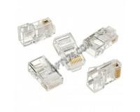 """Коннектор (RJ45 8p8c) - LC-8P8C-001 для одножильного кабеля, контакты 3-х зубцовые медные с золотым напылением 3m"""""""