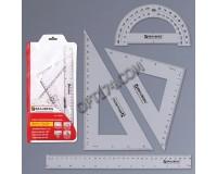 Набор чертежный BRAUBERG 210308 состав: линейка 30см, 2 треугольника, транспортир конверт на молнии, с европодвесом