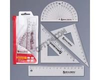 Набор чертежный BRAUBERG 210306 состав: линейка 15см, 2 треугольника, транспортир конверт на молнии, с европодвесом