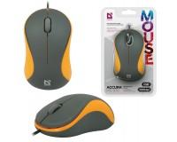 Мышь Defender MS-970 Accura USB Optical (1000dpi) серо-оранжевая, 2 кнопки+кнопка-колесо блистер (52971)