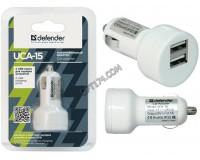 Автомобильное зарядное устройство Defender UCA-15 12/24В 2хUSB, Выходной ток: USB1-1A, USB2-2, 1A, блистер (83562), белое