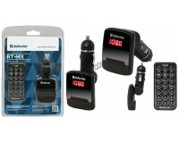 FM трансмиттер Defender RT-Hit 12/24В, USB/SD/AUX, автомобильный, пульт, память последнего трека, FM-частот, громкости, блистер (68010), черный