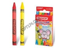 Карандаши восковые Пифагор 222961 Диаметр - 8 мм., 6 цветов, картонная упаковка с европодвесом
