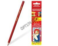 Карандаши цветные Пифагор 180295 Диаметр грифеля -3 мм 6 цветов, высокосортная древесина., шестигранный корпус, картонная упаковка
