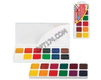 Краски акварельные Пифагор 190358 количество цветов: 24, медовые, пластиковая коробка, без кисти