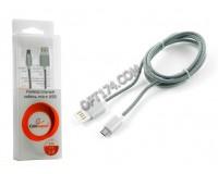Кабель microUSB Cablexpert длина 1м, мультиразъём USB, армированная оплетка, блистер, серебро (CCB-mUSBs1m)
